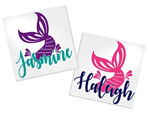 Mermaid Decal Stickers, Your Choice of Colors & Name   Decals by ADavis