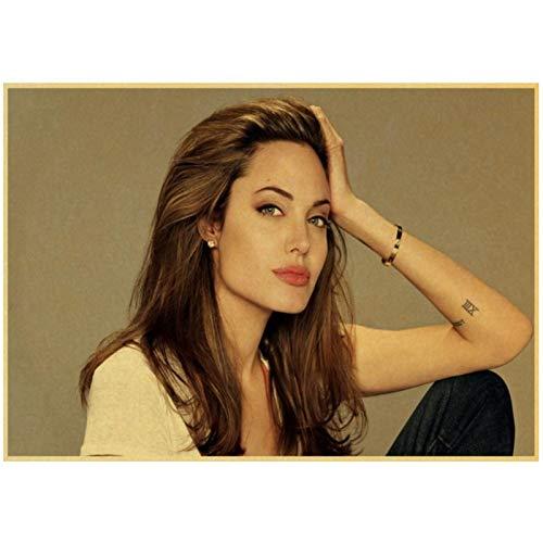 Prettygirl Angelina Jolie venenosa Lara Croft Tomb Raider Carteles e Impresiones Vintage Lienzo Pinturas artísticas de Pared para la decoración del hogar de la Sala de Estar -60x80 cm Sin Marco