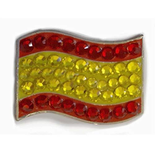 bonjoc marcador para bolas de golf marcador de Spain Flag - bandera Espana con cristales con Magnético hatclip