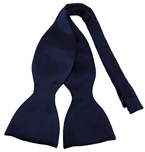 TigerTie Selbstbinder - Querbinder Fliege aus 100% Polyester, Farbe blau schwarzblau marine - Qualität in Satin