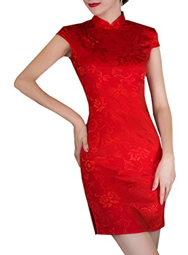 XueXian(TM) Damen Sommer Chinesisch Qipao Mini Etuikleid mit Stehkragen Rot (EU 36 China/M)