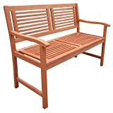 ZIK Banco de exterior para jardín, 2 plazas con reposabrazos, banco de madera de acacia – 120 x 60 x 90 cm