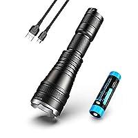 硝子フェアリーL60ズーム可能な懐中電灯Usb充電式1200ルーメン18650バッテリーIp68キャンプ用5照明モード、冷白色、黒