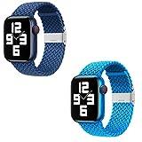 Gujiu 2ps Regolabile Intrecciato Solo Loop con Fibbia Elastica Sport Band per Apple Watch Series 6 SE 5 4 3 38mm 40mm 42mm 44mm AElast cinturino per iwatch