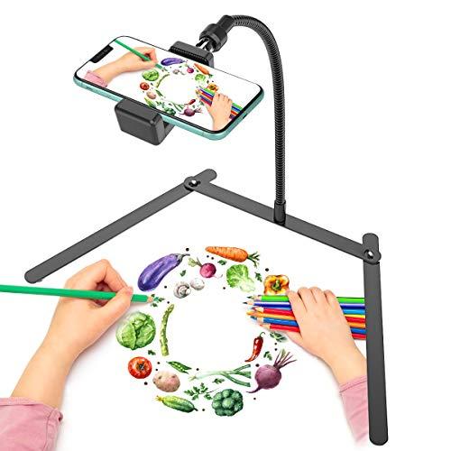 Regolabile porta cellulare treppiede, supporto per cellulare, supporto da tavolo per l'insegnamento per streaming live e video online e per video dimostrativo di creazione di prodotti alimentari