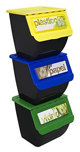 TransformaHogar - Contenedor de Reciclaje New Eco-Box 36 litros. Talla 39 x 39 x 108 cm (Amarillo Verde Azul)