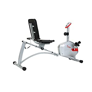 Sunny Health & Fitness Magnetic Recumbent Bike Exercise Bike, 300lb Capacity, Monitor, Pulse Rate Monitoring - SF-RB4417