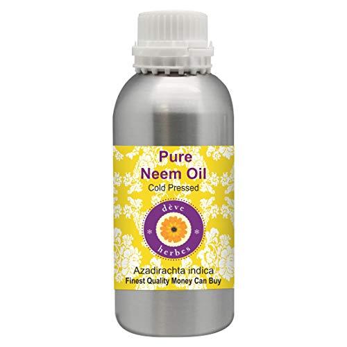 Huile de Neem pure Deve Herbes (Azadirachta indica), 100% naturelle, qualité thérapeutique, pressée à froid 630ml (21,3 oz)