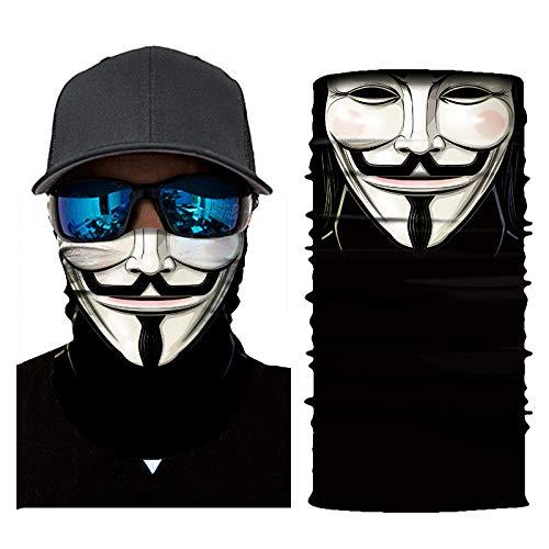 Feeke UV Face mask, American Flag Bandana, 3D Animal Face Sun Mask,Skull Mask Motorcycle Headwear, Magic Scarf, for Fishing, Hunting, Running, Ski (V for Vendetta)