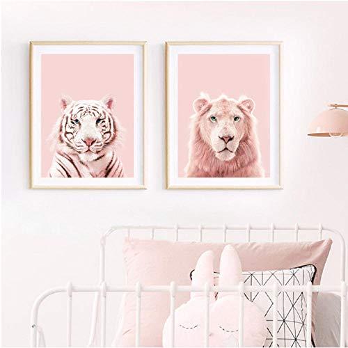Roze Pantherdruk leeuwentijger-kunstposter kinderkamer wilde dieren roodroze pastel muurkunst canvas schilderij kinderkamer wanddecoratie 40x50cmx2 niet ingelijst