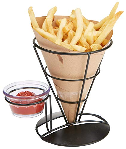 Mind Reader FRYCO3-BLK 3 Pack Fry Stand Dip Compartment, Cone Basket Holder, Perfect for French Fries, Ice Cream & More, 5.25u0022 x 6.75u0022, Black