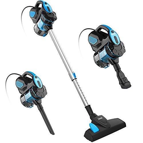 INSE Aspiradora Escoba con Cable, 3 En 1 Vertical y de Mano, Aspirador con Cable Succión Poderosa de 18Kpa, 600W, 1L, Hepa Filtro Lavable, 3 Cepillos Ajustable, para Pelo de Mascota Suelo Duro (Azul)