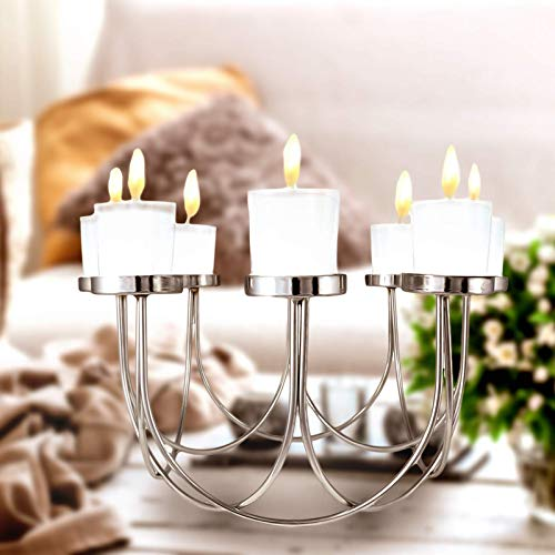 SA Products Tealight Candles Holder – 8 Head Candle Holder for Elegant Decorations – Ultimate Table Centerpiece – Unique Decoration for Home – 30 x 15 cm Glass Candle Holder for Holidays