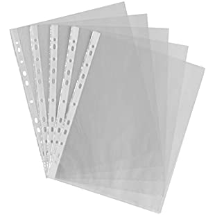 Customer reviews Smco 100 X A4 CLEAR PLASTIC PUNCH PUNCHED POCKETS FOLDERS FILING WALLETS SLEEVES