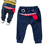 Vavshop Pantaloni per Bambini Forma di Cartone Animato Shark Tongue Harem per Bambini di 0-4 Anni (Blu, 3-4Y)