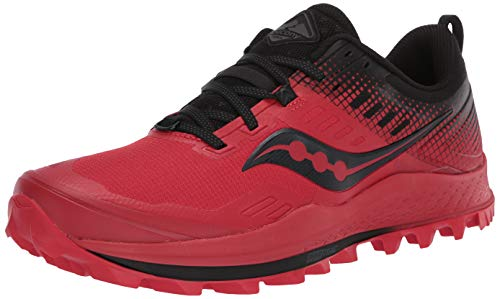 Saucony Men's Peregrine 10 Trail Running Shoe, Red/Black, 12 M US