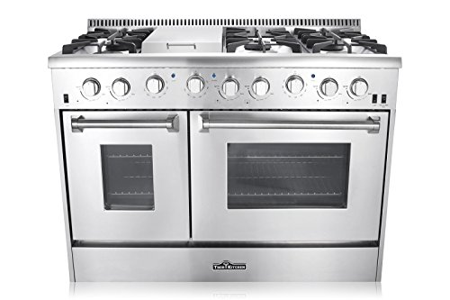 Thor Kitchen HRG4808U 48 in. Freestanding Professional Style Gas Range with Double Oven, 6 Burners, Convection Fan, Cast Iron Grates, and Blue Porcelain Oven Interior, in Stainless Steel
