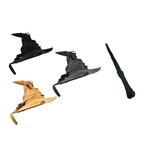 BLACK WIZARD HAT WITH 13' WAND FANCY DRESS ACCESSORY - BLACK WITCHES' HAT FANTASY PROP WITH PLASTIC WAND PROP - PERFECT FOR WITCH, WIZARD AND MAGICAL SCHOOL FANCY DRESS - ONE SIZE FITS MOST