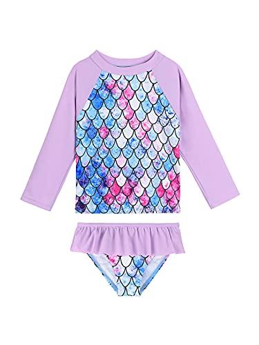 Century Star Traje de baño de dos piezas para niñas pequeñas y niñas, traje de baño de manga larga UPF 50+ trajes de baño de playa, Sirena morada, 7-8 Años