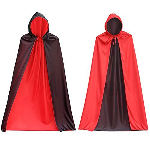 MAKFORT Vampir Umhang Kinder Schwarz Rot Doppelseitig Mit Kapuze Halloween Dracula Cosplay Cape L