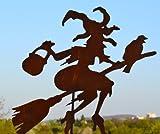 Gartenstecker Hexe mit Rabe, Gesamthöhe ca. 120 cm, Metall + Edelrost, gute Qualität