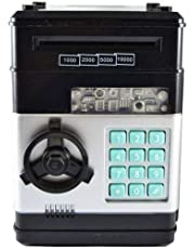 Kids Electronic Money Safe Box Password Saving Bank for Coins and Bills (Black)