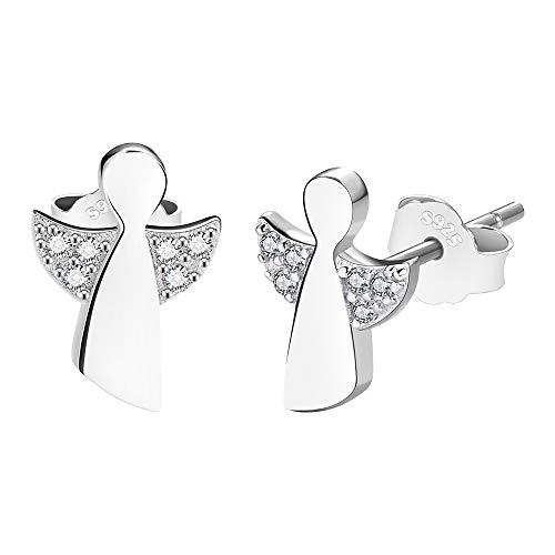 F.ZENI Schutzengel Ohrringe Damen 925 Sterling Silber Ohrstecker Zirkonia Engel Glücksbringer Schmuck für Mädchen Frauen mit Geschenkbox