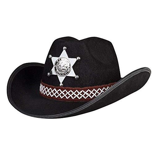 Boland 04106 - Kinderhut Sheriff junior schwarz, silberner Stern, Hutkordel, Cowboy, Karneval, Fasching, Halloween, Mottoparty, Verkleidung, Theater