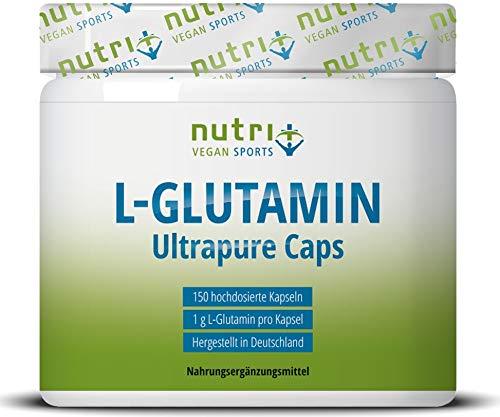 L-GLUTAMIN Kapseln vegan + hochdosiert - 150 Mega Caps - 1000mg pure L-Glutamine pro Kapsel - höchste Dosierung - Fitness & Bodybuilding - pflanzlich - Ultrapure ohne Zusatzstoffe