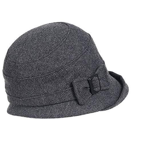 LCTCDY Moda otoño e Invierno para Mujer Sombrero de Fieltro de Lana Cloche Sombreros de Invierno para Mujer Vintage...