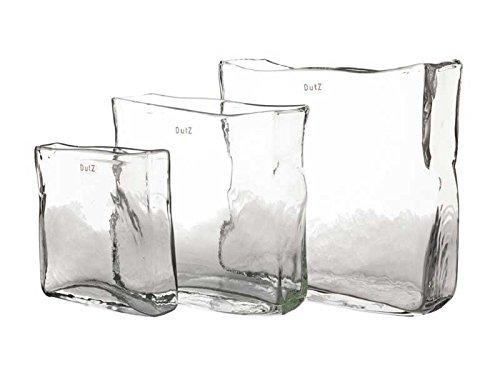Dutz Vase Glas rechteckig - klar Höhe 20 cm, Breite 20x5 cm