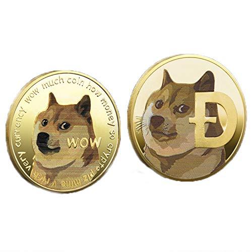 2PCS Nichtwährungsmünzen, Dogecoin Virtual Currency Gedenkgold Golden Test Doge Coin Art Collection, Gold Dogecoin Münzen Gedenkmünze 2021 New Collectors Gold Plated Doge Coin (A)