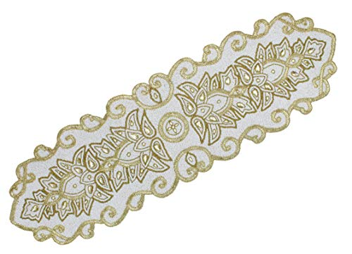 COTTON CRAFT Mesa Mila Handmade Beaded Medallion Table Runner, 18 x 72 inch, Ivory and Gold