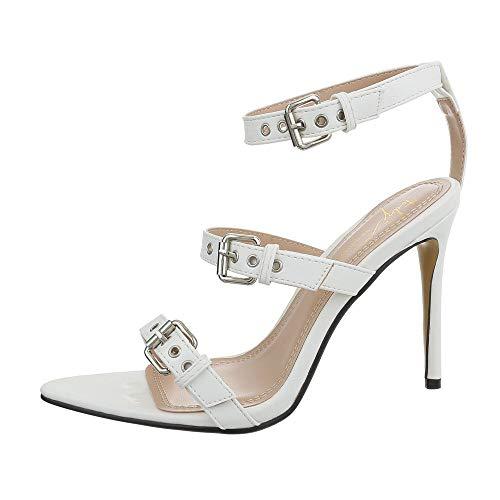 Ital-Design Damenschuhe Sandalen & Sandaletten High Heel Sandaletten Synthetik Weiß Gr. 38