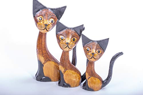 Set of Three Hand Carved Wooden Cats - Fair Trade - Unique Gift - Home Decoration - Ornament - Sculpture - Cat Lovers - Housewarming Gift