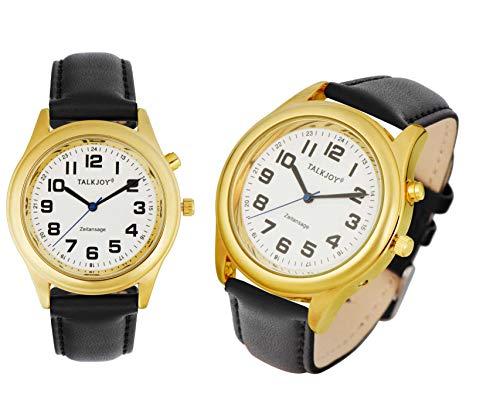 Premium LEDER heren sprekende polshorloge GOLDENE klok blindklok spraakuitgave datum tijd herenhorloge met lederen armband