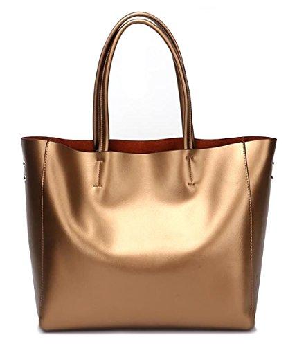 Covelin Women's Handbag Genuine Soft Leather Tote Shoulder Bag Hot Bronze