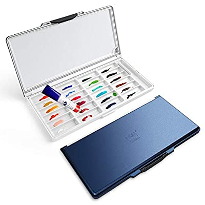 Paul Rubens Watercolor Palette Plastic Box (Blue) Premium Moisturizing with 2 Types Independent Palettes Suitable for Watercolor Painting and Art Works