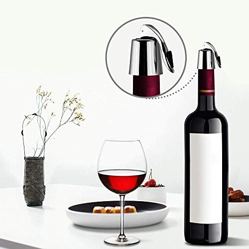 Wine Bottle Stopper Stainless Steel Wine Bottle Plug with Silicone Expanding Beverage Bottle Stopper Reusable Wine Saver Bottle Sealer Keeps Wine Fresh Best Gift Accessories 1 PACK