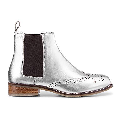 Cox Damen Damen Chelsea-Boots aus Leder, Stiefeletten in Silber mit stylischer Lyra-Lochung Silber...