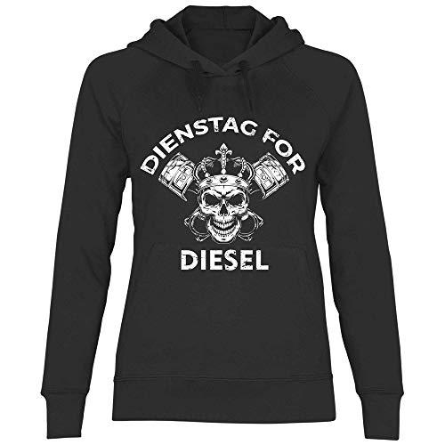 wowshirt Damen Hoodie Dienstag for Diesel Freitagsdemo Klimawandel Klimahysterie Skull, Größe:S, Farbe:Black