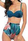 ARRIGO BELLO Costume da Bagno Donna Vita Alta Bikini Sexy Costumi Mare da Donna Due Pezzi Taglie Forti Increspatura Controllo della Pancia Costumi da Bagno (Verde-5059, L, l)