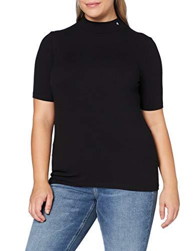Calvin Klein Jeans Damen Rib Ss Mock Neck Hemd, Ck Black, XL