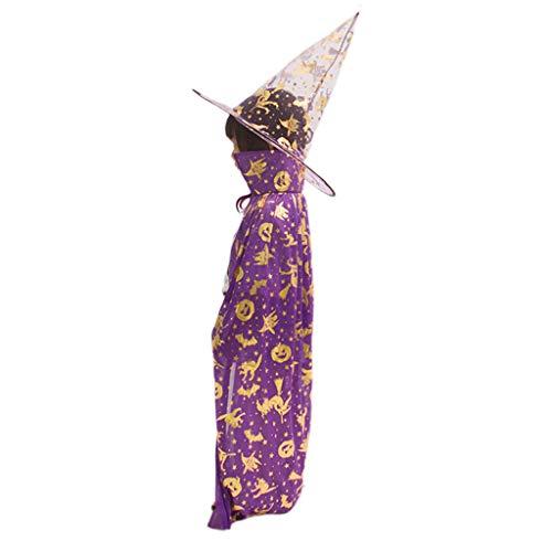 REMO-Y kind kinderen Halloween heks tovenaar kostuum cosplay Cape pompoen vleermuis kat bronsende print rol spelen dress up mantel met puntige hoed Paars