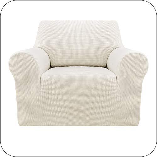Amazon Brand - Umi Sofaüberzug Jacquard Sofaüberwurf Stretch Couchüberwurf Sofabezug Couchhusse Wohnzimmer 1-Sitzer Weiß