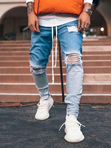 ShFhhwrl Vaqueros de Moda clásica Pantalones De Lápiz Rasgados para Hombre, Pantalones Vaqueros Ajustados De Mezclilla para Motoc