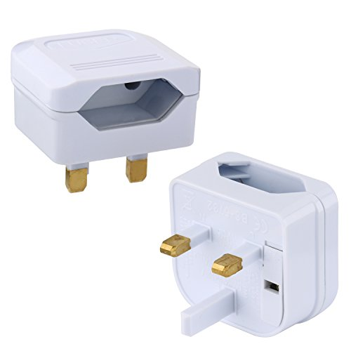 Incutex 1x Reisestecker UK GB England Travel Adapter Typ C Eurostecker 2-Pin auf UK 3-Pin Reise Steckdosenadapter, weiß