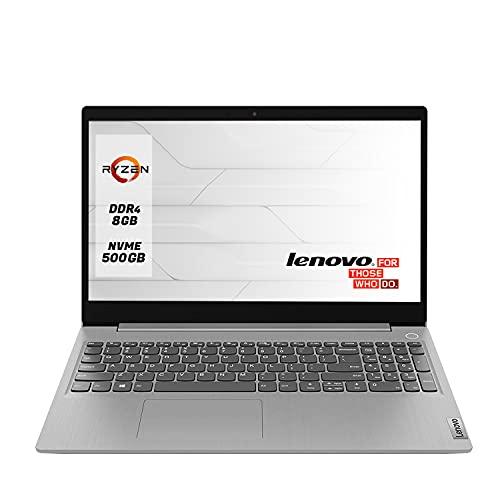 "Notebook Lenovo Pc portatile Display da 15.6"" FHD, Ryzen 3 Fino A 3.50GHz,Ram 8 Gb Ddr4 SSd nvme M.2 500 Gb,Pc portatile Lenovo,Hdmi,Webcam,Wi fi,Bluetooth 5.0,Windows 10 professional"