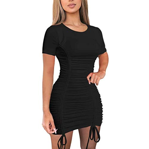 AMABILEMIA Vestido mujer sexy de manga corta mini vestido de verano elegante de noche vestido corto casual cuello redondo Cóctel Party AM352, Negro , M