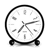 HeQiao Silent 4 Inch Metal Table Alarm Clock with Night Light (Bright Black)